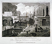 View of the shipping entrance to London Docks, Wapping, 1817
