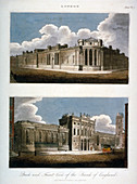 Two views of the Bank of England, City of London, 1814
