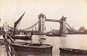 View of Tower Bridge under construction, London, c1893