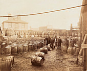 Ebano bitumen stored at Elizabeth Wharf, London, c1900
