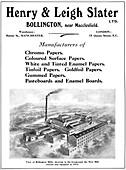 Henry & Leigh Slater Ltd advert, 1916