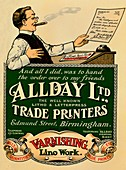 Allday Ltd, Trade Printers advertisement, 1910