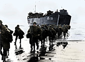 American troops disembark onto the sands of Normandy, 1944