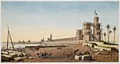 Building of the Aswan Dam, Egypt, 1853