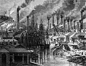 A copper factory in Cornwall, 19th century