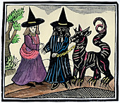 A black and a white witch with a devil animal