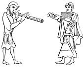 Double flute and nine-hole syrinx flute, 11th century