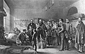 Queen Victoria visiting wounded soldiers, 19th century