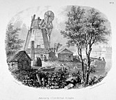 Windmill and the River Thames, Battersea, London, 1830
