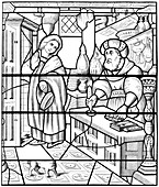 Stained glass window, church of St Alpin, Chalons, France