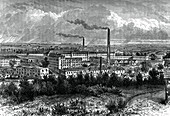 Bessbrook Mills and village, County Armagh, Ireland, c1880