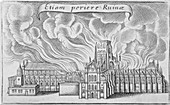 Old St Paul's Cathedral burning, Great Fire of London, 1666