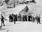 Crowd outside Tutankhamun's tomb, Valley of the Kings, Egypt