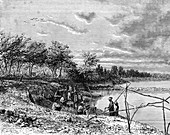 Diamond mining on the Vaal River, South Africa, 19th century