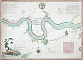 Map of the River Thames from London Bridge to Woolwich, 1802