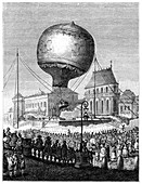 Launch of a hot air balloon, late 18th century, (1885)