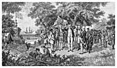 Captain Cook claims Botany Bay, Australia, 1770