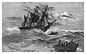 The 'Endeavour' on the reef, Australia, 1770 (1886)