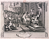 Plate VI of Industry and Idleness, 1747
