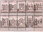 London's ten City Gates, 1720