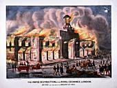 Royal Exchange (2nd) fire, London, 1838
