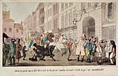 People bargaining at West Smithfield, London, 1825
