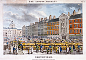 Smithfield Market, West Smithfield, London, c1825