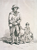 A rustic with a dog and a boy, Provincial Characters, 1813