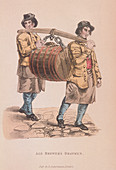 Two ale brewer's draymen carrying a barrel, c1830