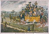 A crowded coach, London, 1783
