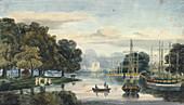 Flotilla on the Serpentine, Hyde Park, London, 1814