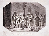 Scene showing the capture of Guy Fawkes, c1605, (1802)
