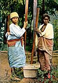 Women pounding rice, Madagascar, late 19th century