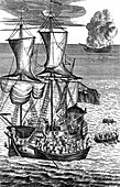 Robinson Crusoe Saves the Crew of a Ship', c1719