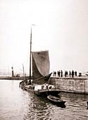 Canal boat, Marken Island, Netherlands, 1898