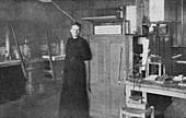 Marie Curie, Polish-born French physicist, in her laboratory