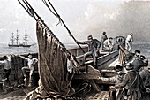 Laying the transatlantic telegraph cable, 1865
