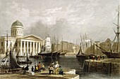 Canning Dock, Liverpool, showing the Custom House, 1841