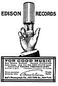 Advert for Edison phonograph cylinder recordings, 1900