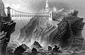 Suspension bridge to South Stack lighthouse, Wales, c1860