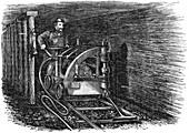 Rail mounted coal cutting machine, 1864
