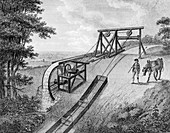Inclined plane powered by water wheel used on a canal, 1796