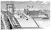 Roller bridge for transferring vessels, 1737