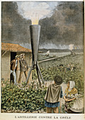 Firing a cannon into clouds to prevent a hail storm, 1901
