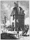 Napoleon's troops defending a telegraph tower, c1815