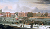 A Frost Fair on the Thames at Temple Stairs', c1684.