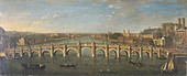 Westminster Bridge from the River, Looking South', c1750
