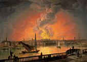 The Burning of Drury Lane Theatre, c1809