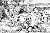 Prehistoric people in a settlement, Swanscombe, Kent