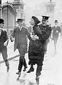 Emmeline Pankhurst arrested, Buckingham Palace, London, 1914